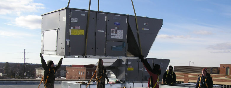 Four Seasons service, repairs and installs commercial rooftop units.